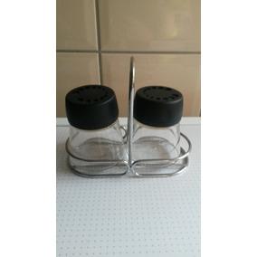 Porta Condimentos Sal Pimenta De Vidro