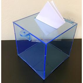 Urna Quadrada De Acrílico Azul Porta Cupons Caixa Sorteio