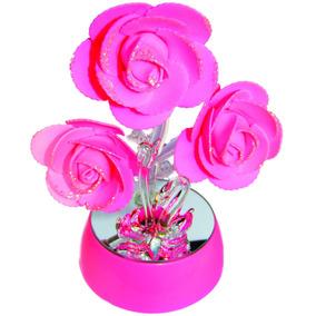 Centro De Mesa Flores Rosas Con Luz Y Cisnes Base Con Espejo