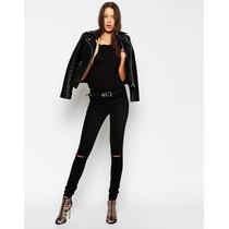 Calça Feminina Jeans Rasgada Destroyed Preta Cintura Alta M1