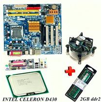 Kit Placa Mãe 775 Ddr2 Celeron 2gb Memoria Cooler Garantia