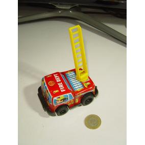 Vintage Mini Camión Bomberos Fricción Metal Y Plástico