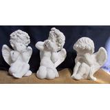 Trio De Anjos Sabedoria Em Gesso Sem Pintura