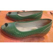 Zapatos Verde Esmeralda Taco Chino Corcho Calados