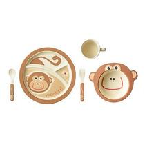 Kit Alimentação Infantil Em Fibra De Bambu, 5 Peças, Macaco