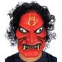 Máscara Diablo Rojo Con Sello Y Pelo