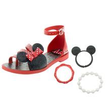 Sandalia Infantil Disney Minnie Mouse Grendene Com Pulseiras