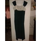 Vestido De Fiesta Dama Verde Esmeralda Seda-torchon.