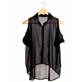 Camisa Feminina Casual Social Chiffon Ombro Vazado Blusa