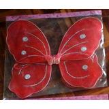 Alas Mariposa Rojo Sin Accesorios Con Brillos Cotillon