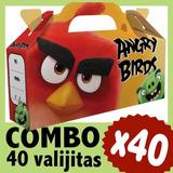 Angry Birds Cajita X 40 Valijita Bolsita Souvenir Combo