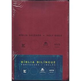 Bíblia Nvi Bilíngue Português - Inglês Luxo (vermelha)