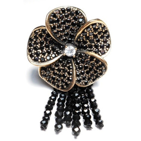 Lrg-anel Flor Turquia Turco Prata 925 Onix Cristal Negro