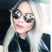 Óculos De Sol Feminino Espelhado Iridia Prata Gatinho
