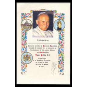 Filasur - Papa Juan Pablo Antiguo Certificado De Bendición