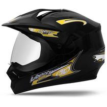Capacete Motocross Liberty Mx Pro Vision Preto Com Vizeira