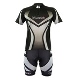 Conjunto Ciclismo Venzo Bermuda + Camisa Degradê Preto/cinza
