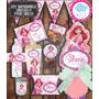Kit Imprimible Editable Cumpleaños Sirenita Pink Dress