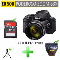 Nikon Coolpix P900 Bolsa 64gb Tripé Gps Wi-fi 16mpxiel
