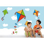 Adesivo Painel Parede Quarto Menino Pipa Nuvens Infantil M36