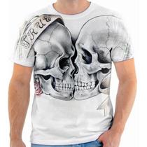 Camiseta, Camisa Caveira Amor Beijo Love Kiss Skull 162