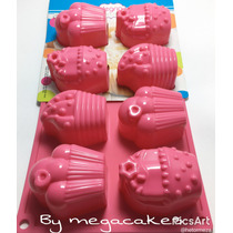 Molde Silicón 8 Diferentes Figuras Cupcake, Fondant, Isomalt