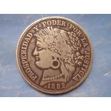 Moneda Plata Ayacucho 5 Cinco Pesetas Moñona Guerra Pacifico