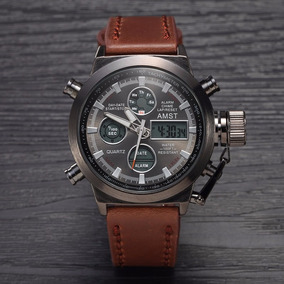 Relógio Masculino Digital Ponteiro Couro A Prova D