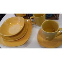 Bazar Platos Y Tazas 30 Piezas Cuadrados Color Amarillo