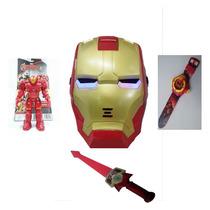 Kit Brinquedo Infantil Relógio Homem Ferro Espada Boneco