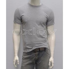 Camiseta Lisa Slim Masculina 100% Algodão Marca Oxley
