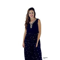 Vestido Longo Com Pedraria E Estampa Floral Na Barra.