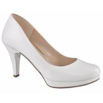 Zapatillas Blancas Tacón Platataforma Y Negra Charol Piel