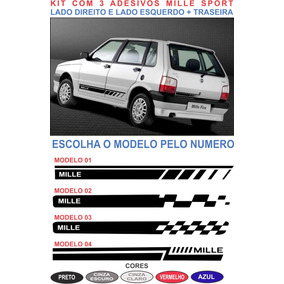 Adesivos Fiat Uno Mille Way Faixa Lateral E Traseira Kit