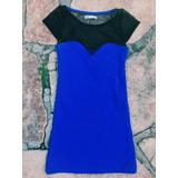 Vestido Muaa Mujer Transparente Azul Electrico Negro