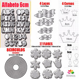 Molde Aluminio Corta Feltro Coroas Flores Laços Alfabeto