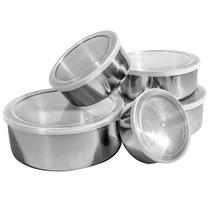 Conjunto De Potes E Tigelas Inox 5 Pçs - Travel Max
