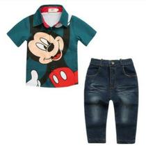 Conjunto Mickey Camisa E Calça Jeans Importado