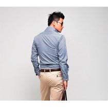 Camisa Hombre Entallada Slim Fit Vestir Cuadros Casual