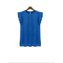 Blusa En Casa Sin Mangas. Talle M. Azul Francia