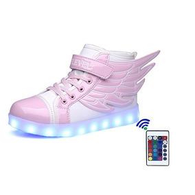 Zapatos Tenis Con Led Para Niñas Rosa Y Blco -blakhelmet Nsp