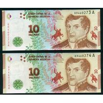 Argentina 2 Billetes Correlativos 10 Pesos 2016 Sin Circular