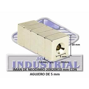 Iman Neodimio 20x20x10 Mm Con Barreno 5mm N35,12000 Gauss
