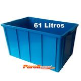 Caixa Plastica Fechada 61 Litros Azul Sem Tampa Caixa 1035