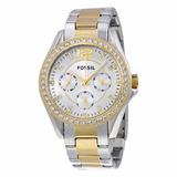 Reloj Fossil Riley Es3204 Acero Plata Y Dorado Original Dama