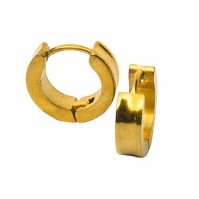 Par Brinco Argolas Masculino Dourado 4mm Aço Cirúrgico Inox!
