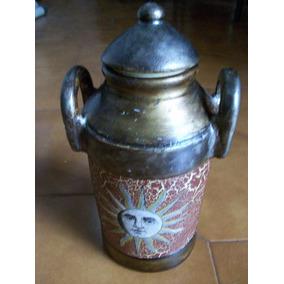 jarron ceramica moderno motivo sol con tapa adorno