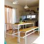 Mesa Comedor/quincho De Hierro Y Madera Diseño Industrial