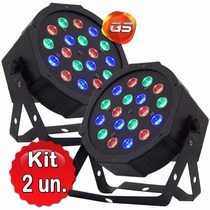Kit 2 Refletor Led Par 64 Rgb 18 Leds Strobo Digital