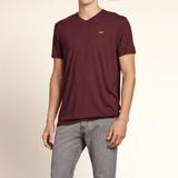 Camiseta Basica Hollister Vermelha Vinho Masculina Original